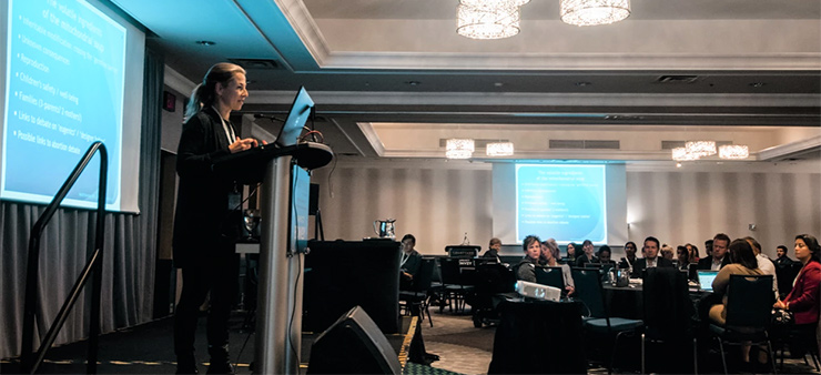 """Vardit Ravitsky giving presentation on """"Ethical aspects of Mitochondrial Replacement Therapy"""" at MITO Canada Foundation event in Toronto, Nov 2019"""