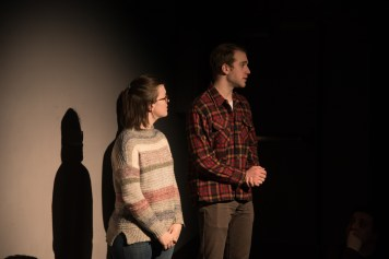 """Ellen's parents, Julia Benson and Sam Mulcahy left to right, try to talk to her after her traumatic experience. Child Ellen (Carolyn Noyes), however, is unresponsive. """"It was a very different process than any I've ever been involved in with before,"""" said Mulcahy, a junior theatre major. """"Translating a single line animated character into a living breathing human was strange but rewarding."""""""
