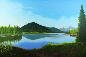 Oil painting of oxbow bend of Snake River beneath Teton mountain range in early morning light.