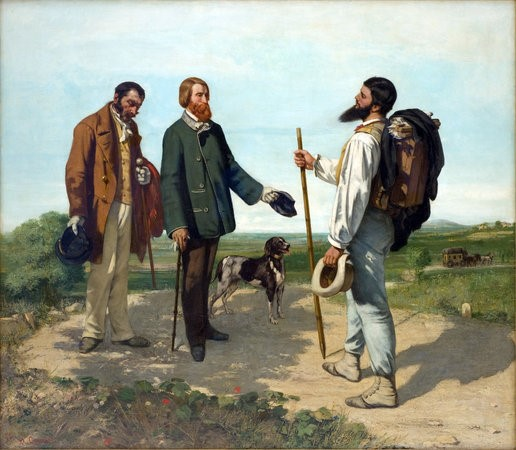 Courbet's canvas painting showing himself hiking, meeting a patron and his servant on the trail. This is Courbet's celebration of the outdoors over a mannered city life.