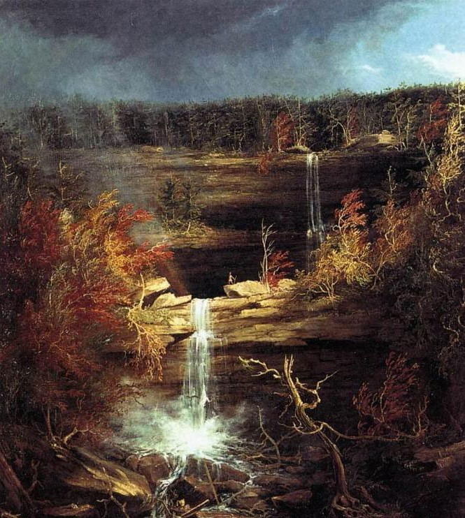 A canvas painting of a waterfall. Landscape art by the founder of the Hudson School of art, Thomas Cole.
