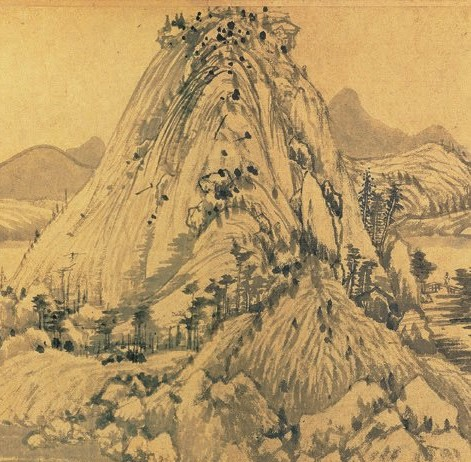 Mountainous terrain in Chinese ink painting.