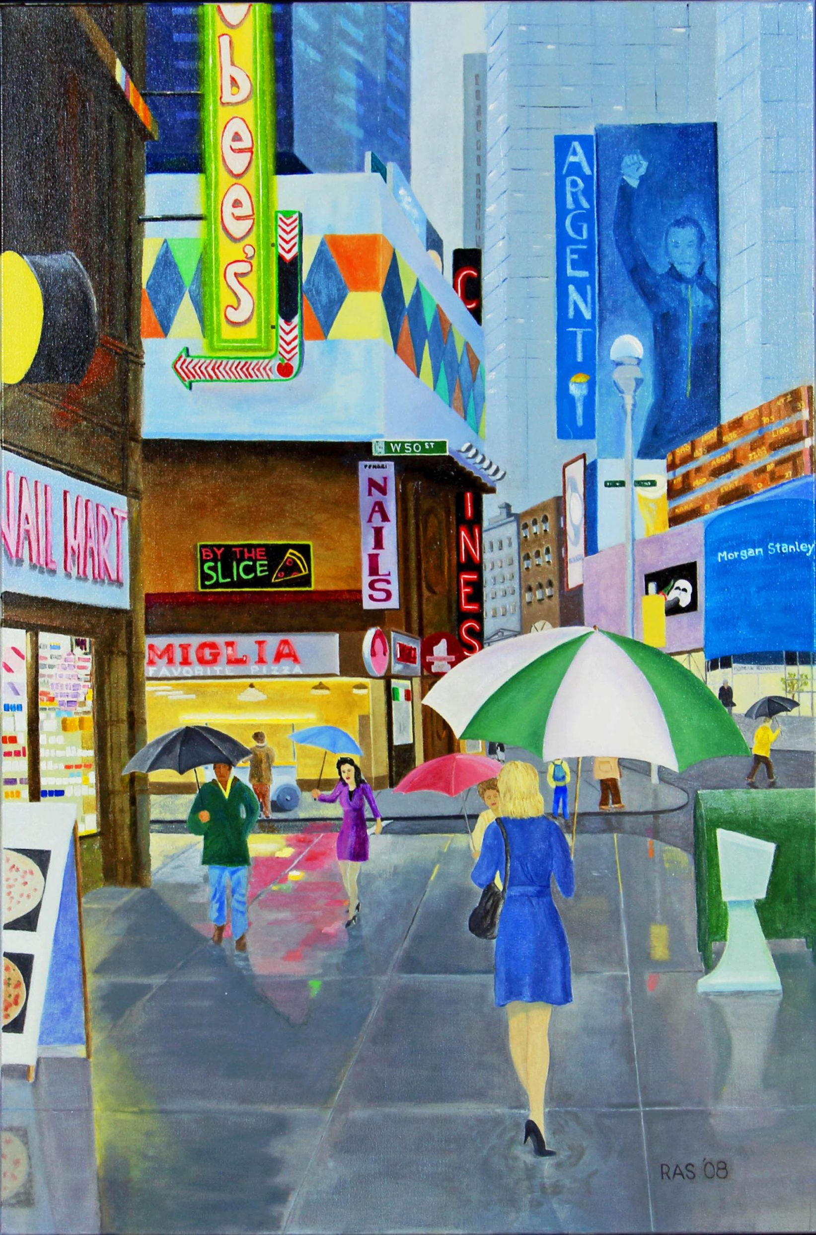 Midtown NYC, figures on sidewalk, walking with umbrellas up. Storefronts lit up.