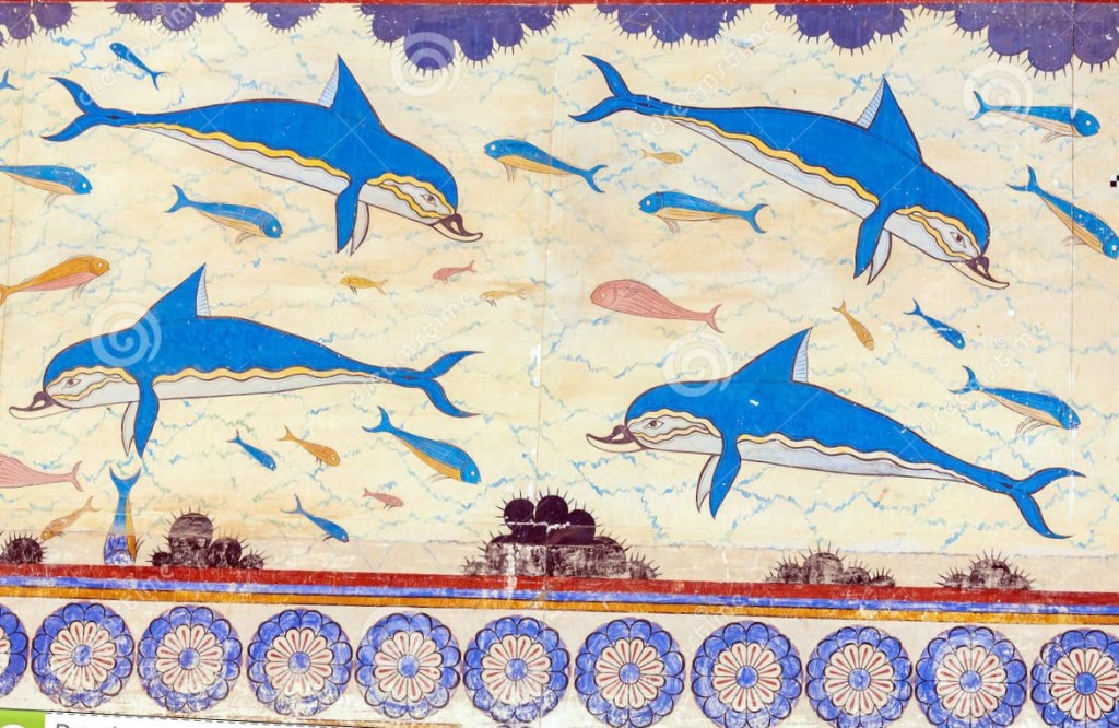 Greek fresco of dolphins swimming. Early phase in evolution of landscape art.