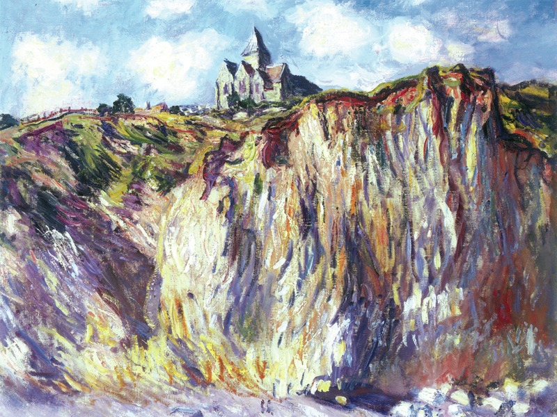 Painting of small church perched on huge precipice. Canvas painting by Monet documenting beauty of nature.