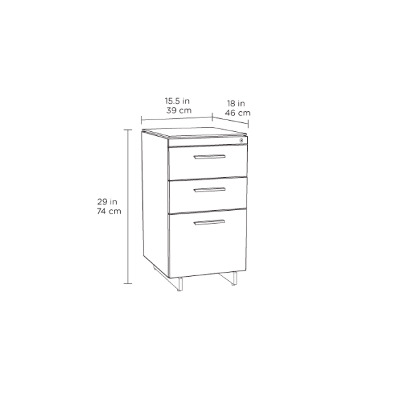 Centro 6414 Office 3 Drawer File Cabinet White Spec