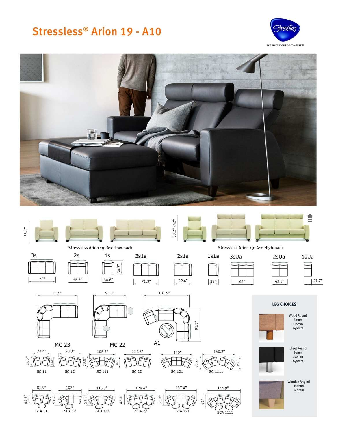 Stressless® Arion 19 A10 Product Sheet