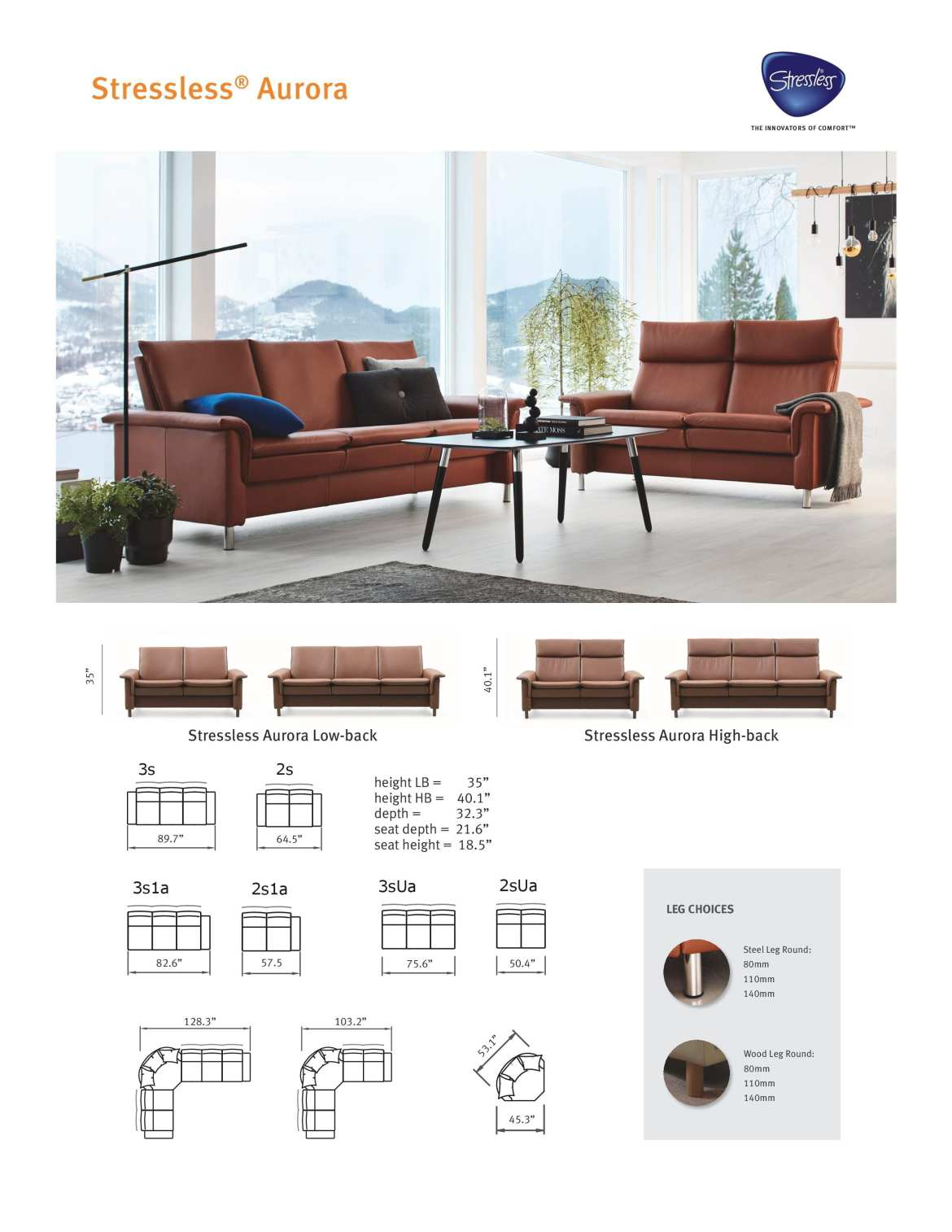 Aurora Stressless Sofa Product Sheet