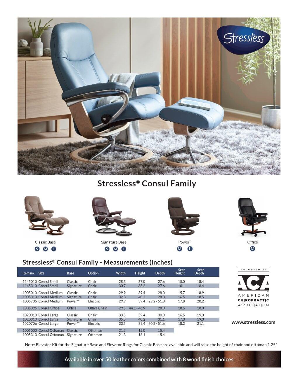 Consul Product Sheet Stressless Recliner