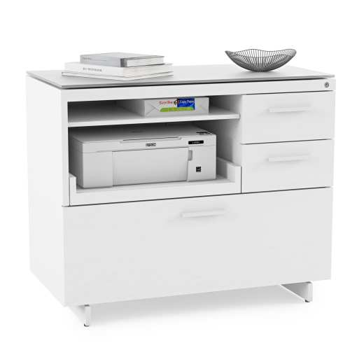 Centro 6417 Cabinet White Office 1