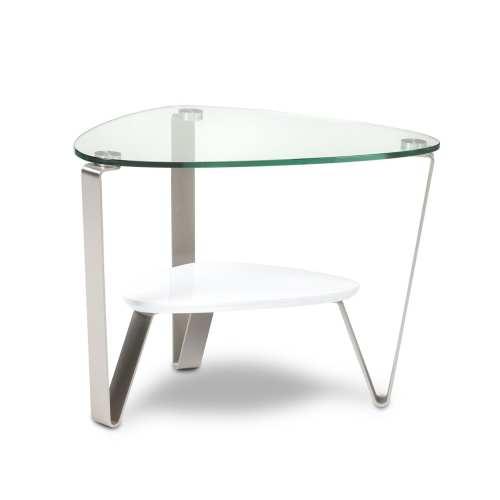 Dino 1347 Modern Glass End Table   BDI Furniture Gloss White