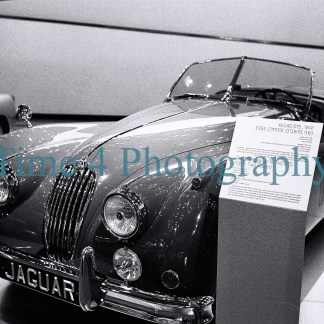 Jaguar 1955 convertible two seater XK 140 OTS, frontwiew, at a car show, black and white picture