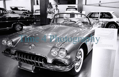 1958 Chevrolet Corvette, front view, at a car show.Black and white picture