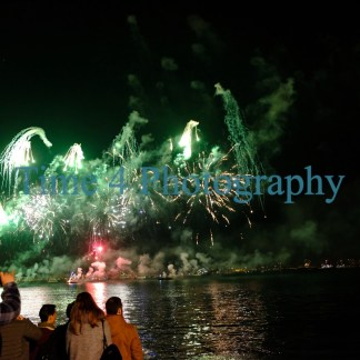 Picture showing a multi colored fireworks presentation for celebrating the 2018/2019 New Years Eve over the Tejo River in Lisbon, Portugal.