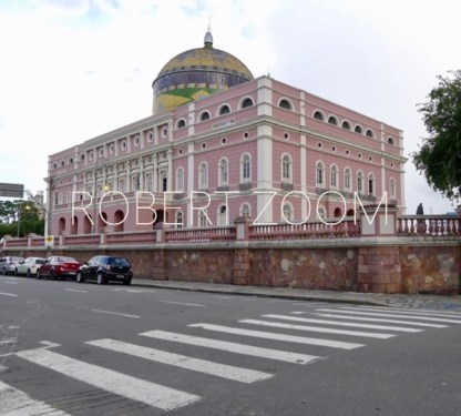 The famous Amazon Theater in Manaus, Brazil,in the heart of the brazilian Rainforest. Facade and lateral wall on the foreground.
