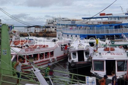 Several passenger boats anchored in Manaus port, on the Rio Negro.