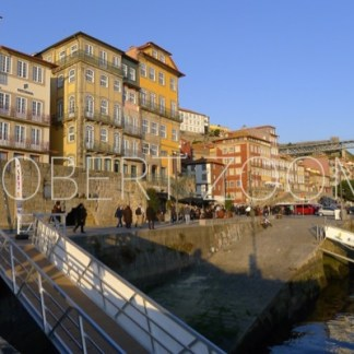 Houses and buildings in Porto, along the main street facing the Douro river