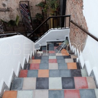 Checkered stairs in several colors amid white walls, with some vegetation on a white wall in the background.
