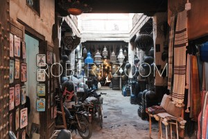 A small gallery of tiny shops selling arabic products, in Marrakech, Morocco