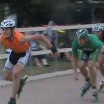 Andy Kostka giving chase with world class skaters in Couderay, WI