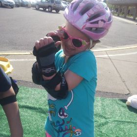 Andy Kostka's daughter Brynn in Preschool Inline Skate Class at Maple Grove in 2013