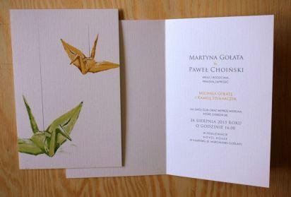Oryginalne zaproszenia ślubne - motyw origami - Robimy Śluby