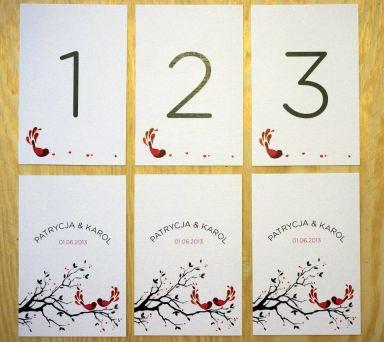 Poligrafia ślubna - winietki i numerki na stoliki - Robimy Śluby
