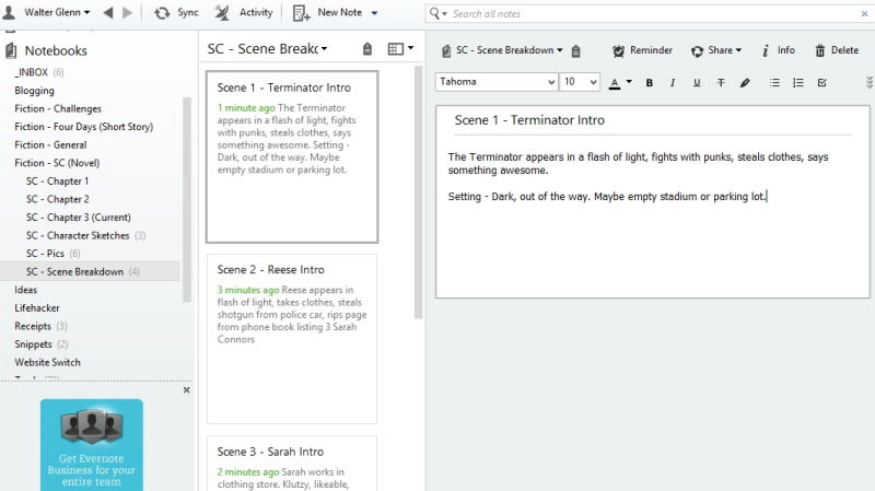 evernotetowriteabook