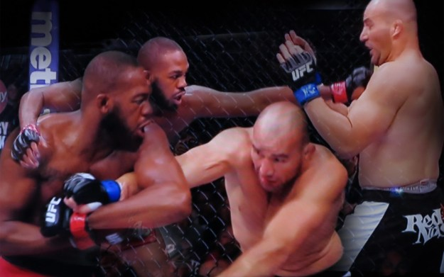 Robin Botie of Ithaca, New York, photoshops Jon Bones Jones on TV defending his title at UFC 172 main event in Baltimore