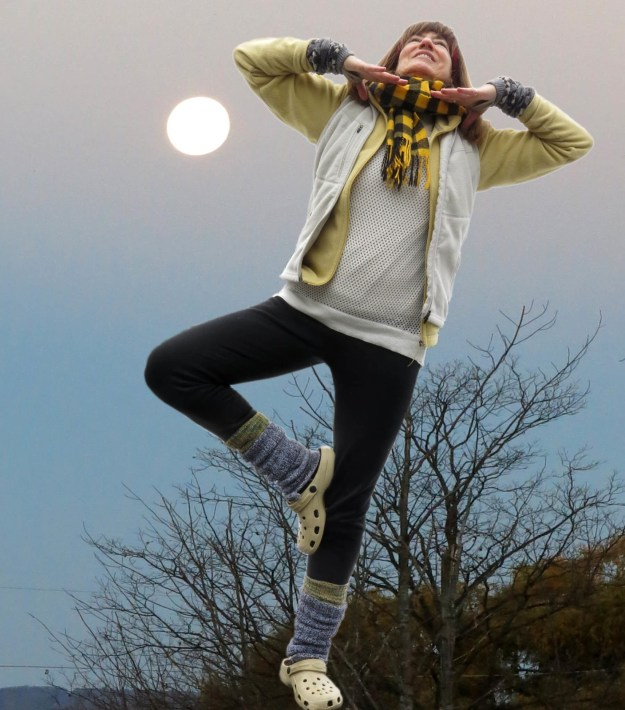 Not My Normal Self - Robin Botie of ithaca, New York, tries to do the tree yoga stance in a photoshopped moonscape.