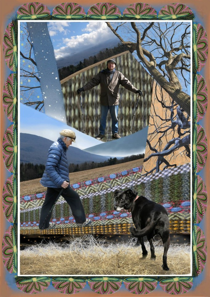 Robin Botie of Ithaca, New York, Photoshops friends walking with dog in the woods.