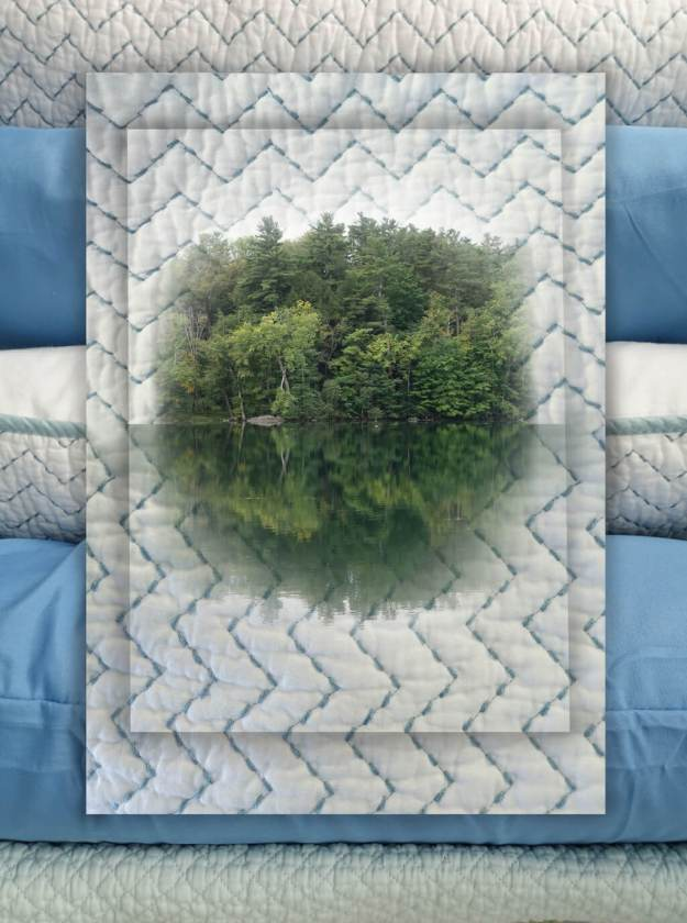 Robin Botie of Ithaca, New York, lost on October Mountain, photoshops the lake onto a cozy matelasse stitched quilt.