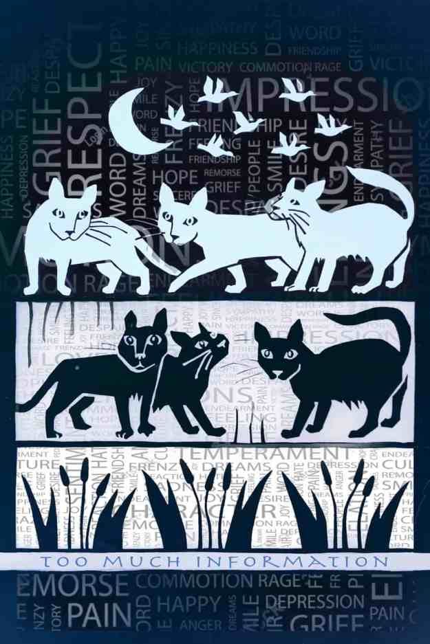 Robin Botie of Ithaca, New York, photoshops a silkscreened design she made for Silk Oak, to illustrate grieving cats.