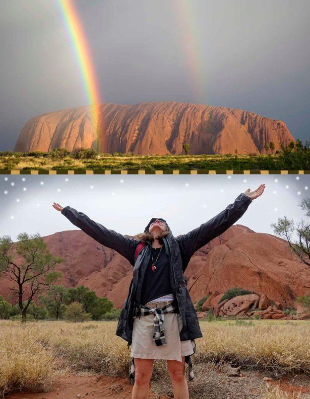 Robin Botie of Ithaca, New York, at Uluru aka Ayers Rock watching a double rainbow.
