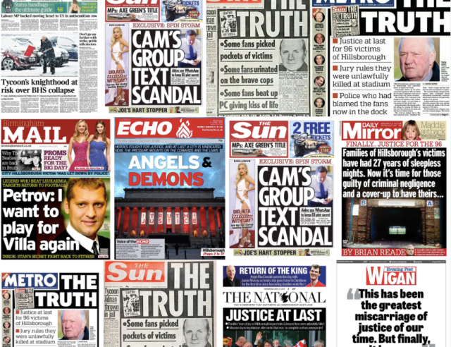 hillsborough front pages