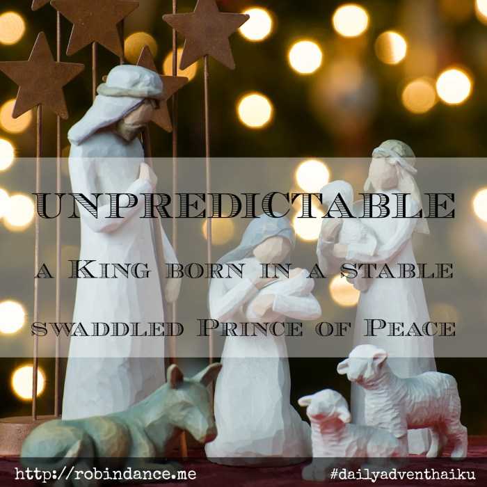 Advent Poem - Unpredictable - Daily Advent Haiku by Robin Dance