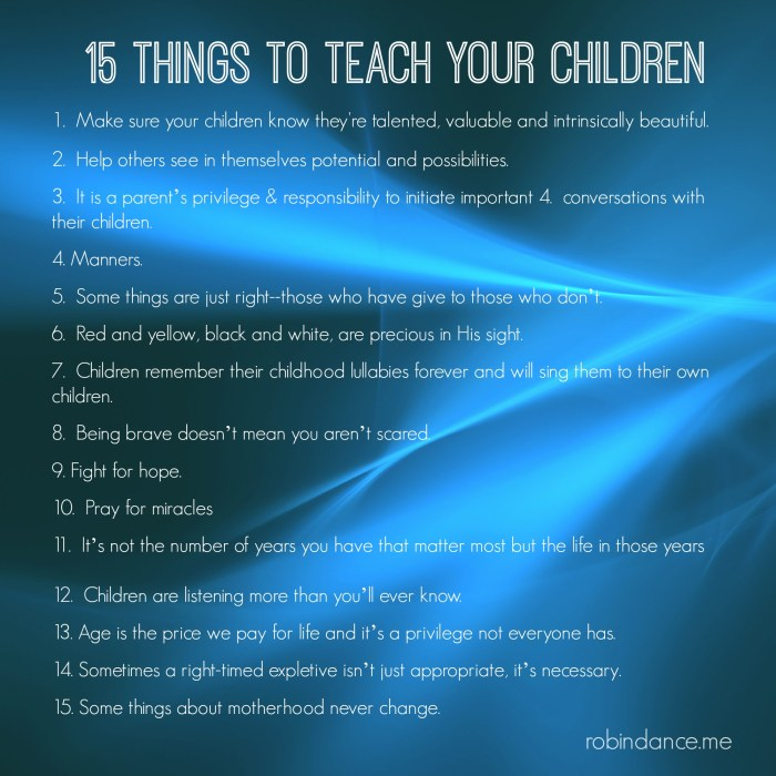 15 Things To Teach Your Children