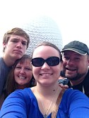 Group Selfie in front of Spaceship Earth.