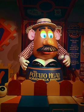 Mr. Potato Head is a wonderful greeter and helps pass the time in the Toy Story Mania line.