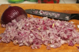 Finely chop/mince 1/2 large onion.