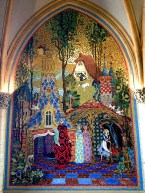 Walking through the Castle, we found the walls lined with beautiful mosaic art depicting the story of Cinderella.