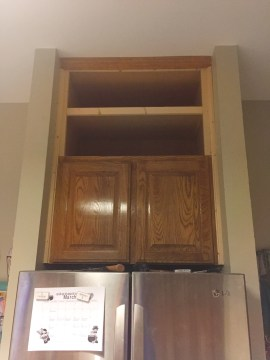 Over the fridge cabinets