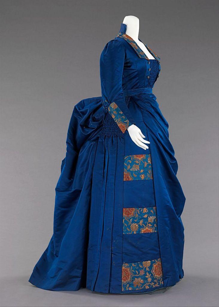 1885-1888 Blue Silk Dress - side view