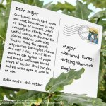 Postcard to Major from Robin Hood's Little Outlaws about their road trip