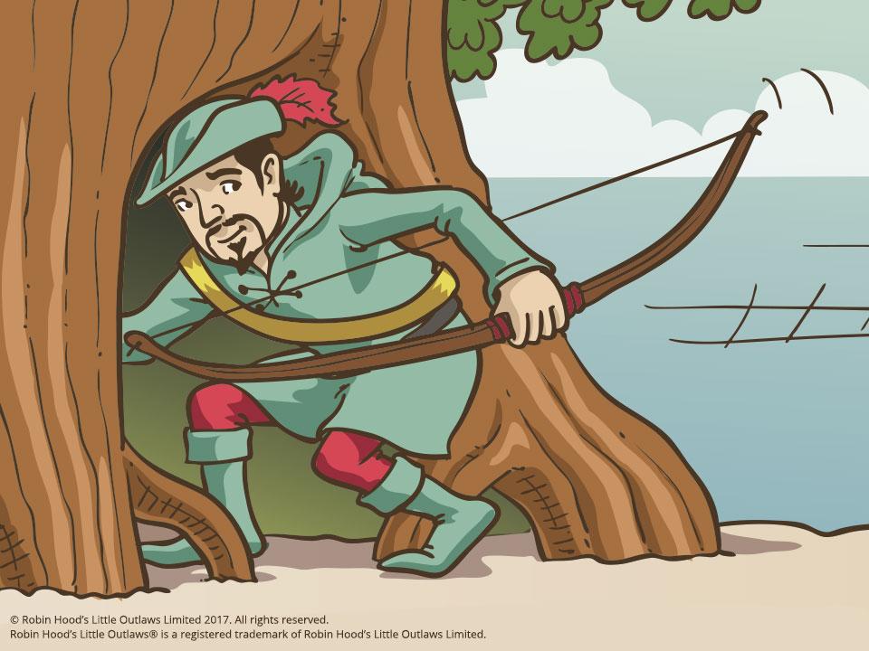 Robin Hood hiding from danger within the Major Oak