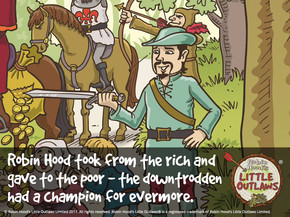 "Illustration of Robin Hood taking from the rich and giving to the poor, from Robin Hood's Little Outlaws' first children's picture book, ""Robin Hood, who's he?"""