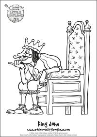 King John character colouring in sheet