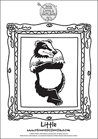 Little the badger character colouring in sheet