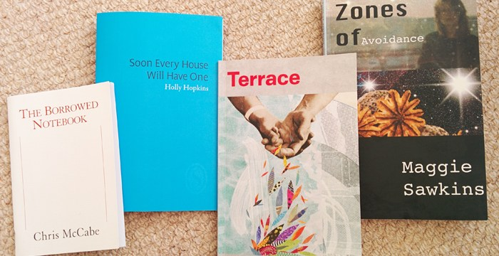 Poetry pamphlets by Chris McCabe, Holly Hopkins, Richard Skinner & Maggie Sawkins