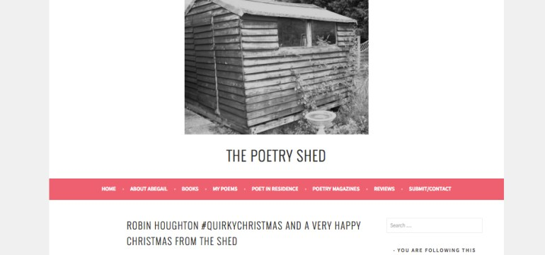 Robin Houghton poem on Abegail Morley's The Poetry Shed, december 2015